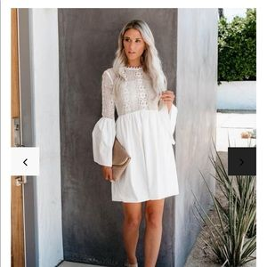 Loving you is easy cotton lace bell sleeve dress